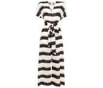 Rosetta Belted Striped Gauze And Satin Jumpsuit