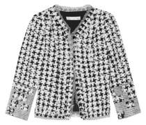 Appliquéd Tweed And Organza Jacket Weiß