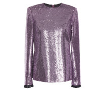 Lace-trimmed Sequined Tulle Top