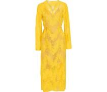 Cotton-blend Chantilly Lace Midi Wrap Dress