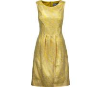 Pleated Metallic Cloqué Dress Zitronengelb