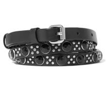 Embellished Leather Belt Schwarz