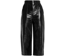Glossed faux leather culottes