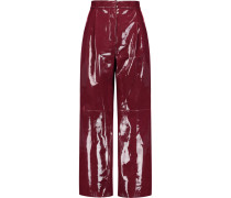 Glossed-leather Wide-leg Pants Merlot
