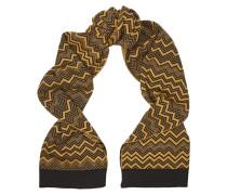 Metallic Chevron-knit Wool-blend Scarf Gelb