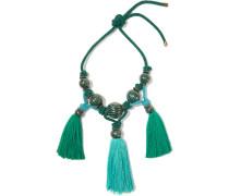 Plastron Tasseled Enameled Bead Necklace Jade