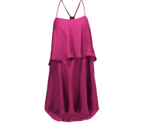 Tiered Silk Mini Dress Magenta
