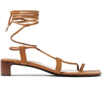 Woman Lace-up Leather Sandals Light Brown