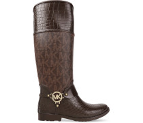 Paneled Croc-effect And Printed Textured-leather Boots Braun