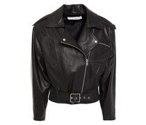 Osorn Cropped Leather Biker Jacket