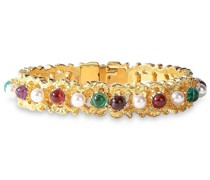 24-karat -plated, Faux Pearl And Stone Bangle