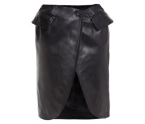 Lace-trimmed Layered Satin And Leather Skirt