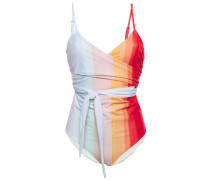 Cutout Striped Wrap Swimsuit