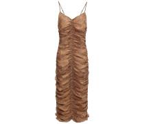 Ruched Printed Silk-georgette Midi Dress