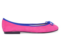 India Bow-embellished Suede Ballet Flats Fuchsia