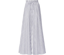 Striped Cotton-voile Wide-leg Pants