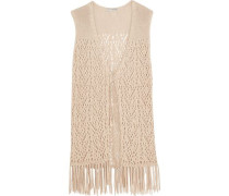 Fringed crochet-knit cotton gilet