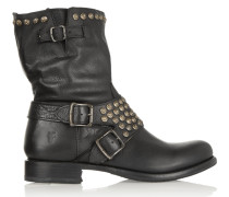 Jenna Studded Leather Boots Schwarz