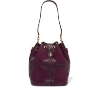 Argyle Dottie Quilted Leather And Suede Bucket Bag