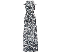 Chantel Leopard-print Crepe Maxi Dress Wollweiß