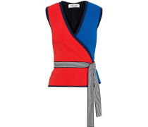 Kandy Color-block Stretch-knit Wrap Top