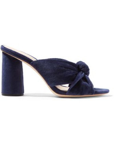 Coco Knotted Velvet Mules Navy