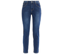 Cropped Two-tone Mid-rise Slim-leg Jeans