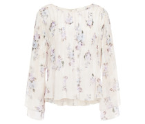 Paulette Pintucked Floral-print Silk-georgette Blouse
