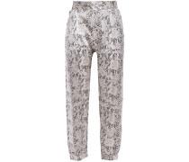 Cropped Snake-print Silk-satin Tapered Pants
