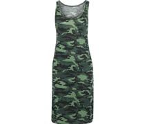 Bedrucktes Kleid aus Jersey aus Stretch-leinen mit Flammgarneffekt