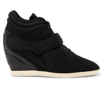 Faux Leather-paneled Knitted Neoprene Wedge Sneakers Schwarz