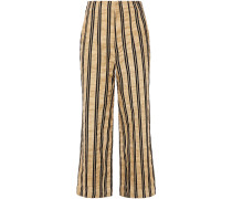 Striped Crinkled Cotton-blend Twill Wide-leg Pants