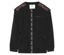 Monsoon Convertible Embroidered Washed-cotton Jacket Schwarz