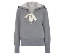 Lace-up cotton-blend terry hooded sweatshirt