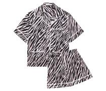 Millicent Zebra-print Silk-satin Pajama Set