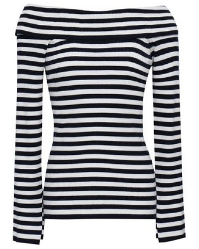 Off-the-shoulder Striped Ribbed-knit Top Navy