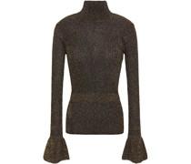 Lillie ausgestellter Pullover aus Rippstrick mit Metallic-effekt