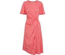 Woman Button-detailed Gathered Satin-jacquard Dress Coral