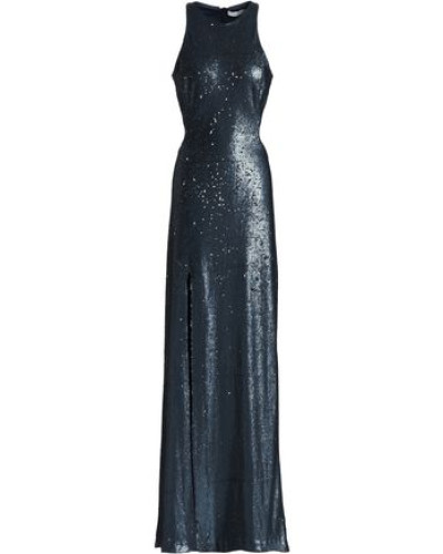 Cutout Sequined Tulle Gown Storm Blue Size 14