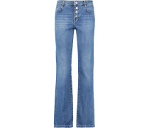 High-rise Straight-leg Jeans Mittelblauer Denim