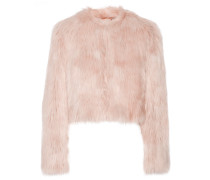 Cropped Faux Shearling Jacket Pastellrosa