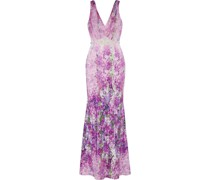 Embellished Pleated Tulle-paneled Floral-print Crepe Gown
