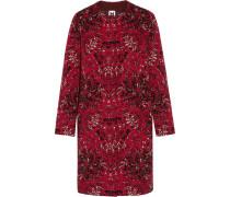 Jacquard-knit Wool-blend Coat Bordeaux