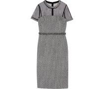 Tulle-paneled Embellished Tweed Dress Schwarz