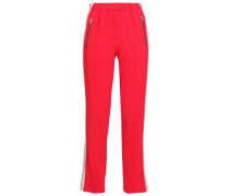 Striped Crepe Track Pants Red