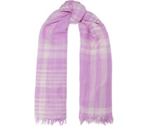 Frayed Checked Cashmere And Silk-blend Scarf