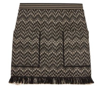 Frayed crochet-knit wool-blend mini skirt