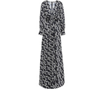 Woman Twist-front Floral-print Twill Gown Midnight Blue