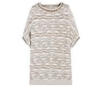 Metallic Jacquard-knit Sweater Ecru