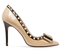 Benvolio Studded Patent-leather Pumps Beige